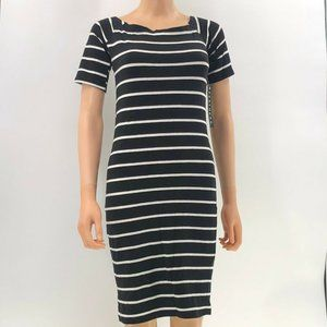 FEATHERS black white striped dress fitted Jr sz L
